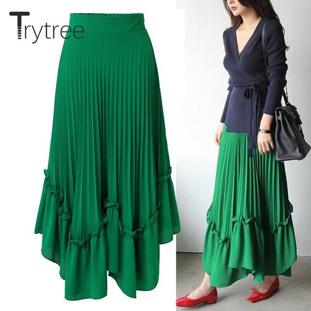 c277e8f5dbc9 Trytree Spring Summer women skirt shorts Chiffon maxi skirt High waist  Pleated skirt Casual streetwear A