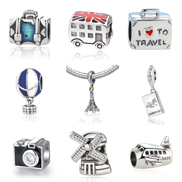 Authentic Sterling Silver 925 Original Charm Fit Pandora Bracelet Diy Travel Camera Eiffel Colosseum Tower Charms Beads Jewelry eiffel tower charm bangle