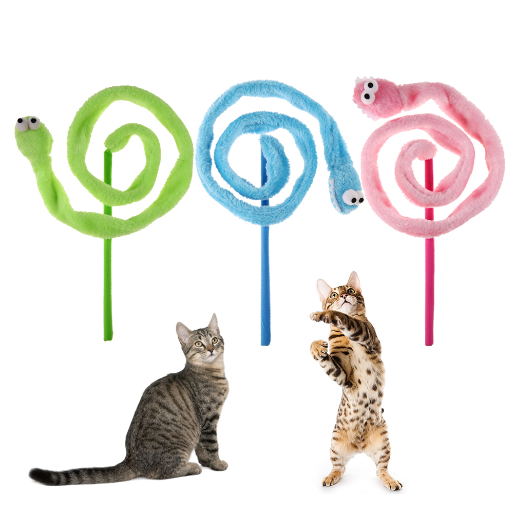 Cat Toys Interactive Cartoon Snake Mint Sound Cat Teaser Plush Toy with Cat Mint Kitten Pet Products