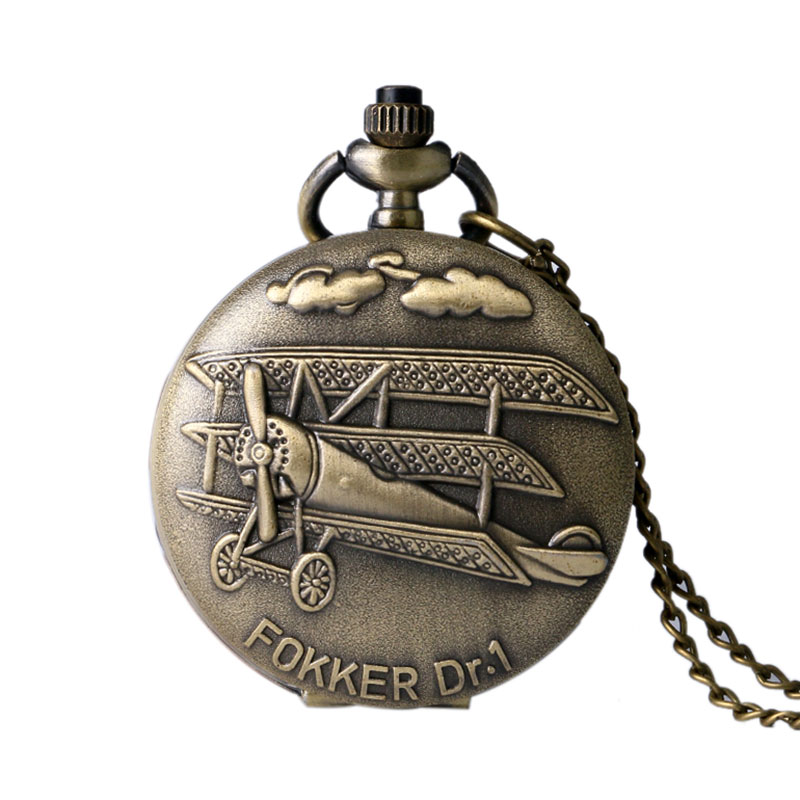 Vintage Bronze Fokker Dr.1 Plane Pattern Pocket Watch Pendant Watches Men Women Gift P960