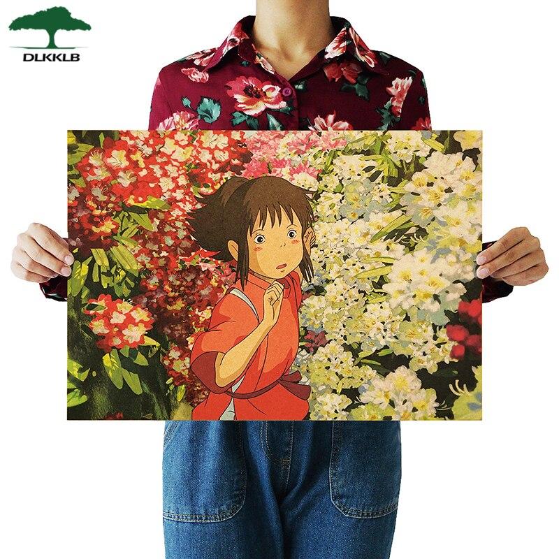 Dlkklb Anime Movie Spirited Away Famous Hayao Miyazaki Kraft Paper Cafe Bar Retro Poster Decorative Painting Art Wall Stickers