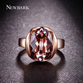 NEWBARK Rose Gold Plated Vintage Pink Austrian Crystal Finger Ring Clear Rhinestones Surrounded Both Sides Rings Jewelry