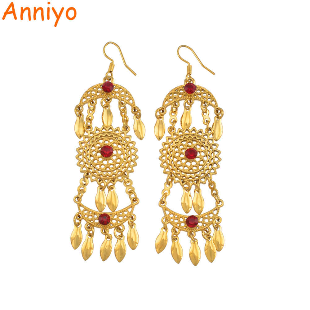 Anniyo Dubai Earrings for Women Girls Gold Color Arab Wedding Jewelry African Party Gift Drop Earring #144806