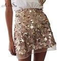 ArtSu Gold Sequin Mesh Mini Skirts Womens Christmas Chic High Waist Skirt Zipper Casual Short Party Beach Black Skirt ASSK20005