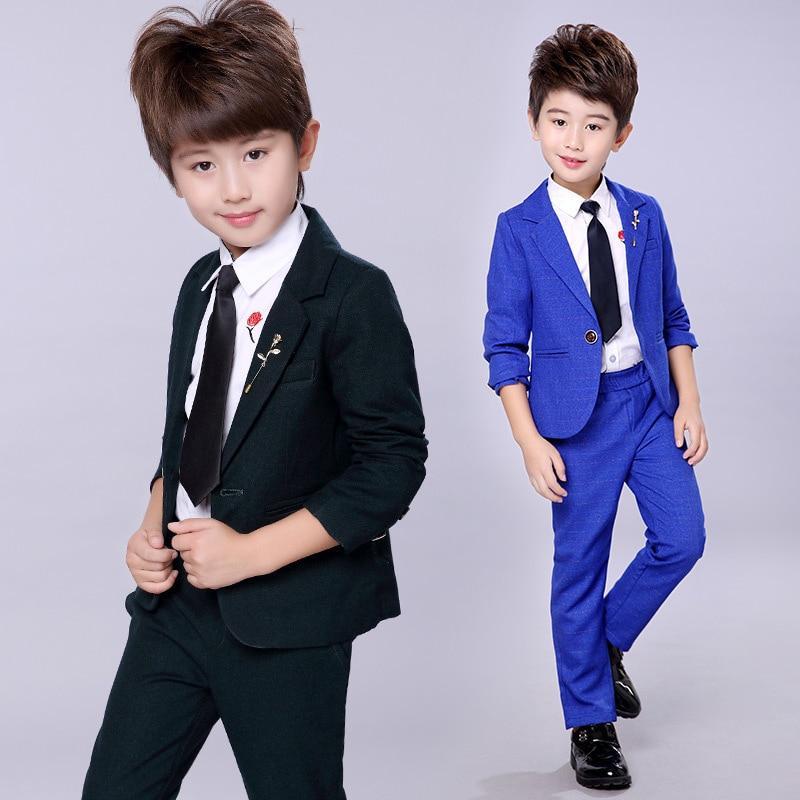 Blue Kid/'s Wedding Groom Tuxedos Flower Boys Children Graduation Party New Suits