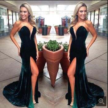 2017 Real picture dark green mermaid velet formal evening dress strapless with slit elegant tube evening gowns best selling