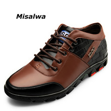 Misalwa Autumn Mens Invisible Height Increasing Elevator Shoes Taller Lace up Leather Sneakers Winter Plush Casual