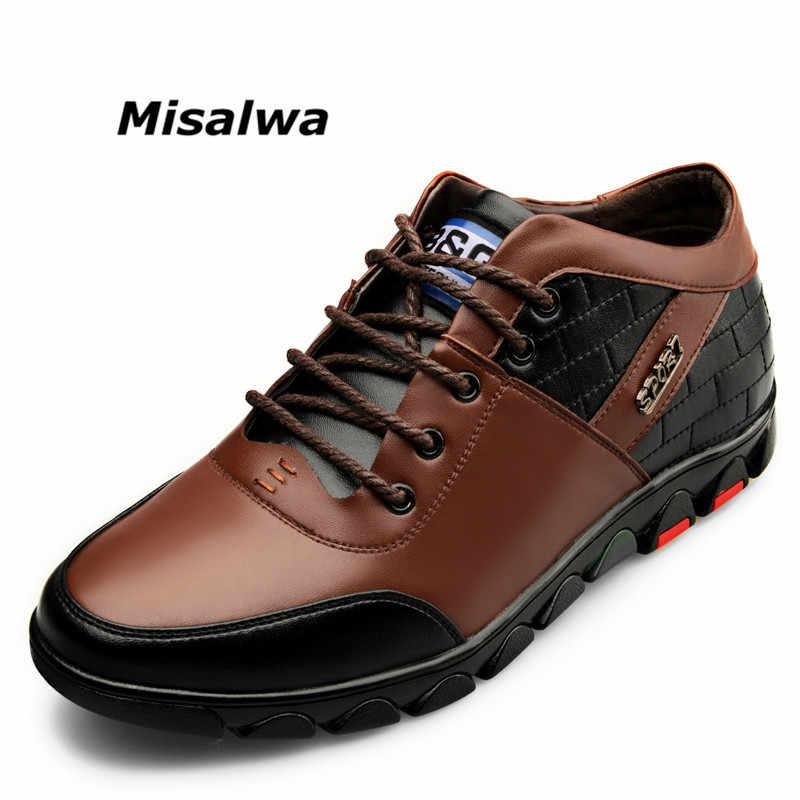 Misalwa秋メンズ見えない高さの増加エレベーターの靴背レースアップレザーメンズ冬豪華なカジュアルシューズ