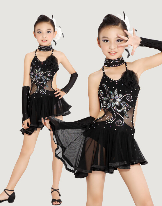 Stage Performance Black Yellow Set Fashion Rumba Latin Cha-cha Dance Dress Tango Samba 110-160cm Professional Girl Child Costume