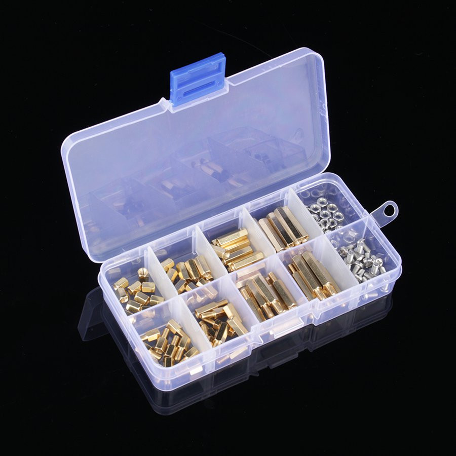 120PCS/Lot M3 PCB Male Female Thread Brass Spacer Standoffs/ Screw /Hex Nut Assortment Set Kit With Plastic Box M3*6mm - M3*15mm
