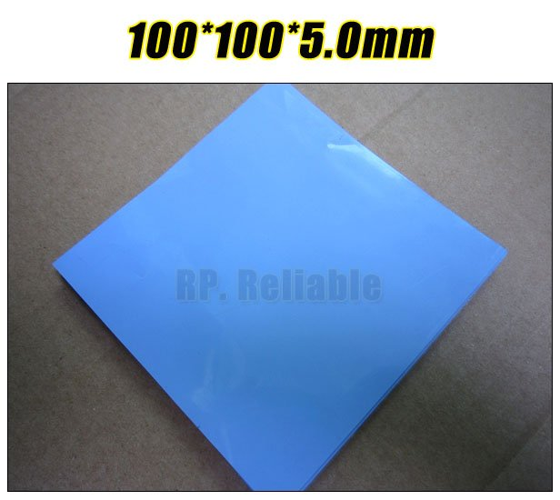 100mm*100mm*5.0mm Soft Silicone Thermal Pad For Heatsink /Chipset LED Gap Insulating /Cooling /Sealing Lower Vibration Blue
