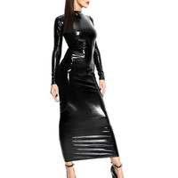 CFYH 2018 New Hot Sexy Ladies Black Long Sleeve Faux Leather Dress Latex Bodycon Women Dress Catsuit Halloween Clubwear Costume