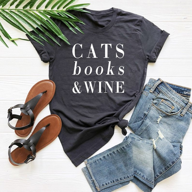 Cats Books Wine Letters Women Tshirt Cotton Casual Funny T Shirt For Lady Yong Girl Top Tee Drop Ship S-207