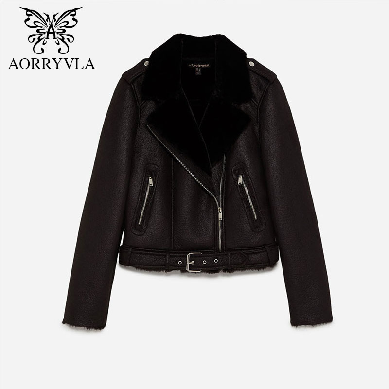 AORRYVLA 2018 Autumn Women   Suede   Jacket Full Sleeve Zippers Short Length Turn-Down Faux Lamb Wool Motorcycle Jacket With Sashes