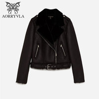 AORRYVLA 2018 Autumn Women Suede Jacket Full Sleeve Zippers Short Length Turn Down Faux Lamb Wool Motorcycle Jacket With Sashes