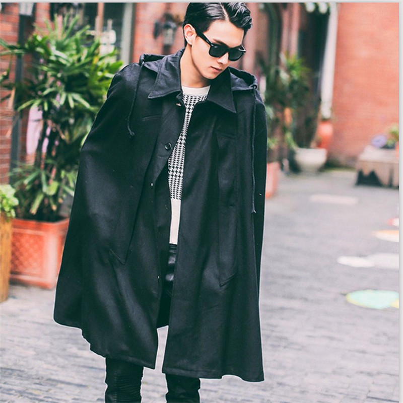 Men's Bat Hooded Woolen Coat Long Loose Windbreaker Men Trench Coat Men Sobretudo Masculino Gothic Gabardina Hombre Windbreaker