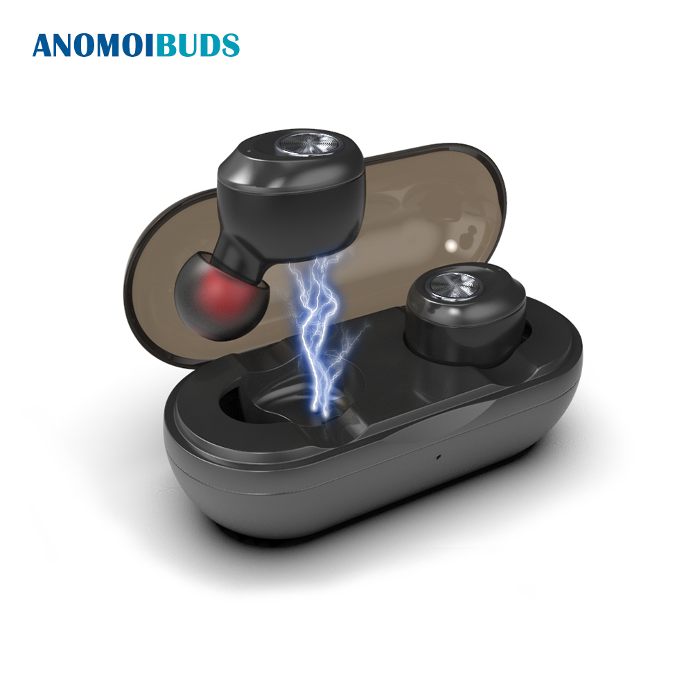 Anomoibuds Capsule Auto Pairing Wireless Bluetooth TWS Earphone Earbuds Headset Noise Cancelling V5.0 Stereo Sport Earpho