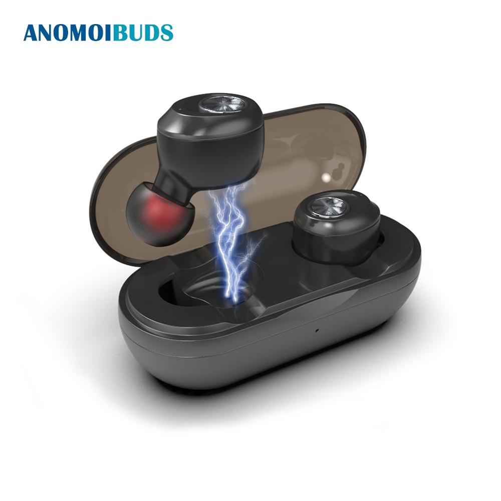 Anomoibuds cápsula sin hilos auriculares Bluetooth TWS Earbuds Auto Pairing Cancelación de ruido V5.0 llamada estéreo deporte auricular