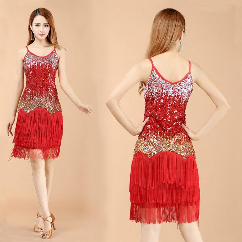 2016 New arrivals sexy tassel latin dance dress for women girls latin dance skirt competition wear on sale