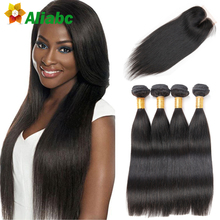 Brazilian Straight Hair With Closure 4 Bundles 8a Grade Virgin Unprocessed Human Hair With Closure Stema Hair With Closure