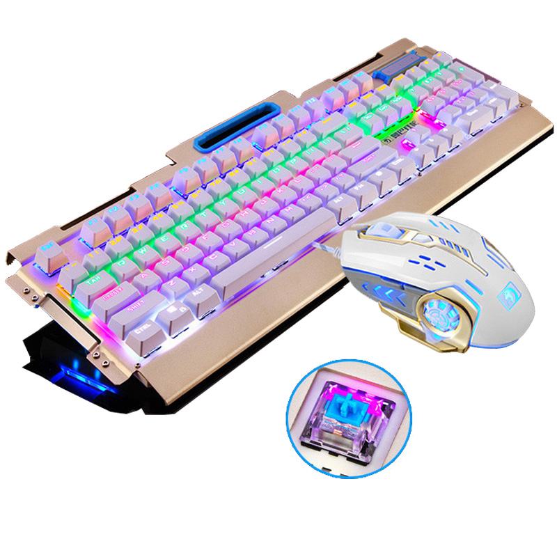 New Mechanical Keyboard 104 Key Blue Black Switch Rainbow Backlit Gaming Keyboard for PC Game Teclado Gamer+Pro Gaming Mouse new professional gaming mechanical keyboard 104 keys colorful backlit blue switch game keyboard for pc laptop