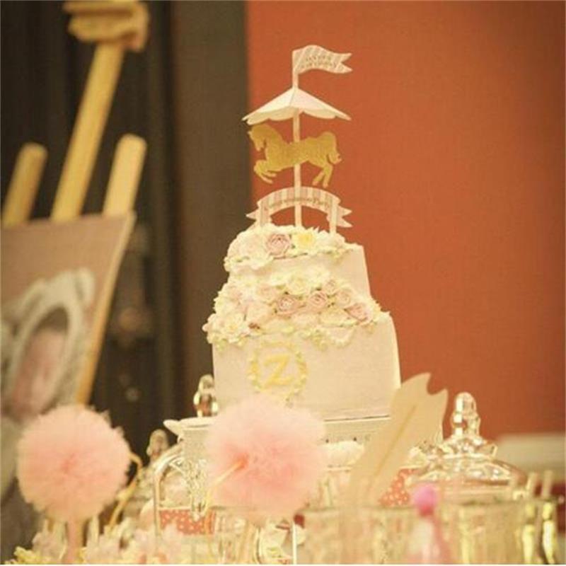 Huxiaomei Birthday Cartoon Carousel Theme Cake Topper Picks Flag Kid ...