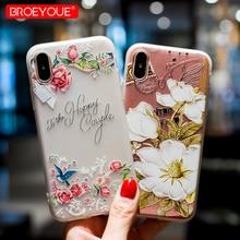 BROEYOUE iphone için kılıf 7 8 Artı X 3D Kabartma TPU Çiçek Silikon iphone için kılıf 6 6 s 6 Artı 6 sPlus 5 5 S SE XR XS Max te...