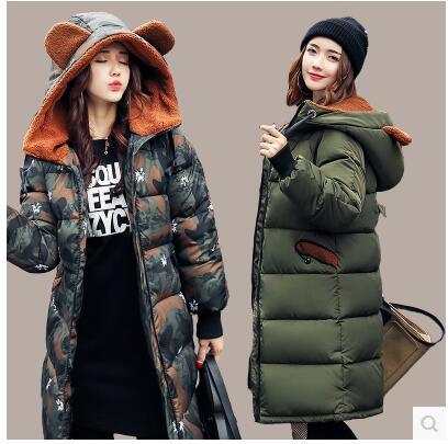 2017 г. осенние и зимние Новые Женская мода Повседневная Женская Камуфляж теплая зимняя куртка женские Зимнее пальто размер S-XXXL