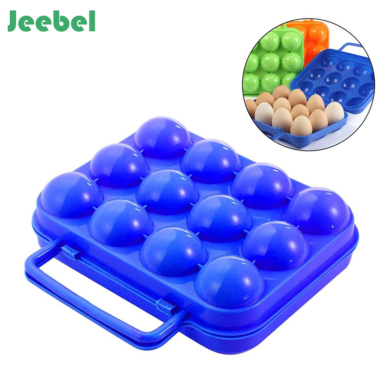 Jeebel 1pc Plastic 6/12 Grids Portable Camping Picnic Barbecue Outdoor Egg Box Convenient Kitchen Egg Storage Boxes