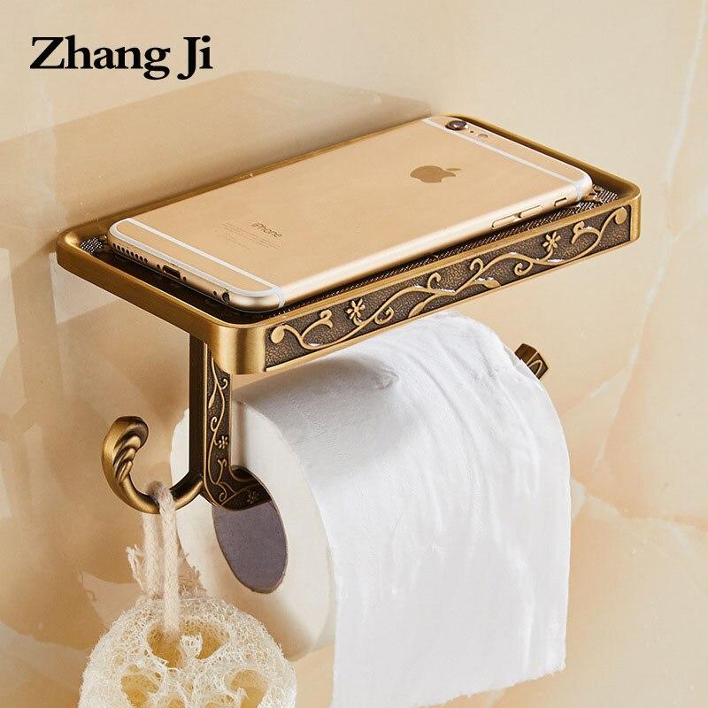 ZhangJi antiguo tallado de rollo de papel higiénico titular estante de teléfono de montaje en pared Europea baño titular de papel de Rack con gancho