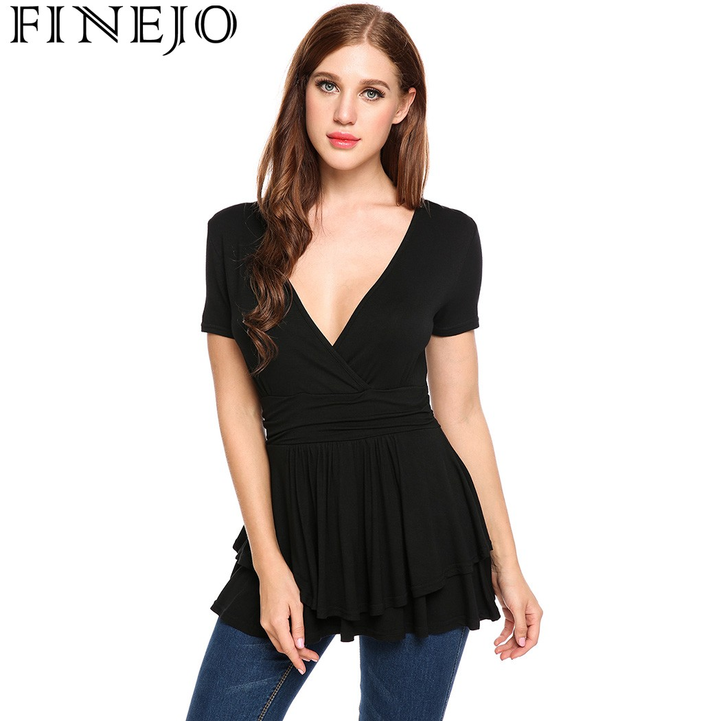 FINEJO Women T-shirts Sexy Deep V Neck Front Cross Short Sleeve T-shirt Solid Double Layers Pleated Hem Summer Top Brand T Shirt