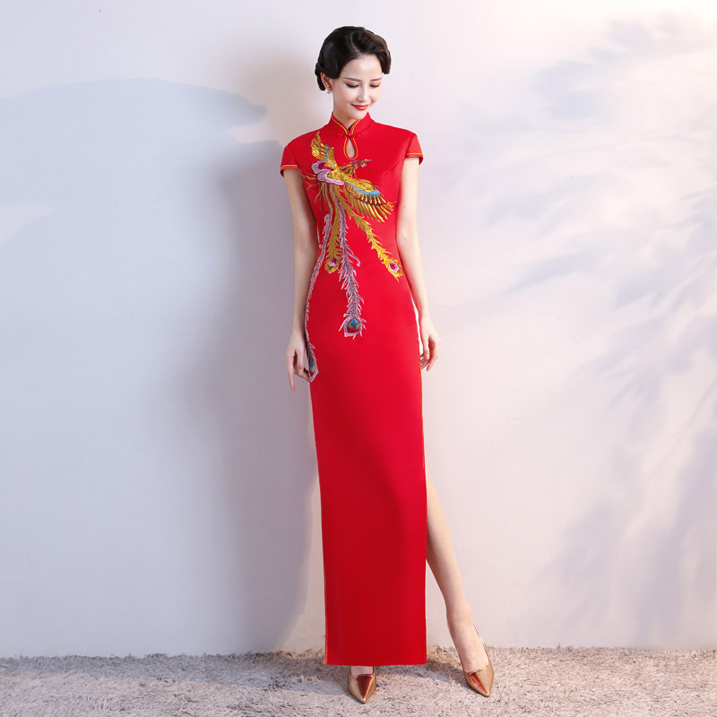 Rouge Vintage Style chinois Maxi Cheongsam rétro longue robe Qipao femmes soirée robe Vestidos vêtements grande taille S-5XL