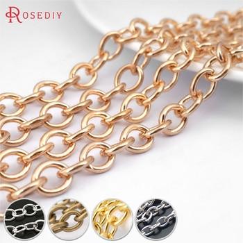 (14584) ancho 2,3 MM 2,5 MM 3MM 3,8 MM 4MM 4,5 MM 7,5 MM 9MM hierro redondo Oval forma cadenas collar cadenas Diy joyería hallazgos