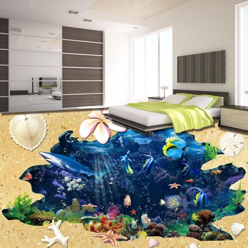 Free Shipping HD beach shellfish shark underwater world 3D floor painting kitchen bathroom home floor wallpaper mural