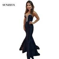 Потрясающий бисерный вечерние платья возлюбленная Русалка Черные вечерние платья 2019 простое длинное платье для выпускного платья soiree SE27