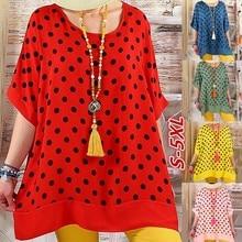 2019 large size womens T-shirt fashion casual loose wave round neck bat sleeve shirt