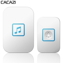 CACAZI Intelligent Wireless Doorbell Waterproof 1 2 Button 1 2 Receiver Smart 300M Remote US EU UK Plug Battery LED Light Chime yifan wireless doorbell waterproof eu us au plug door bell chime 300m remote 433mhz ac 110v 220v 2 emitter 1 receiver no battery