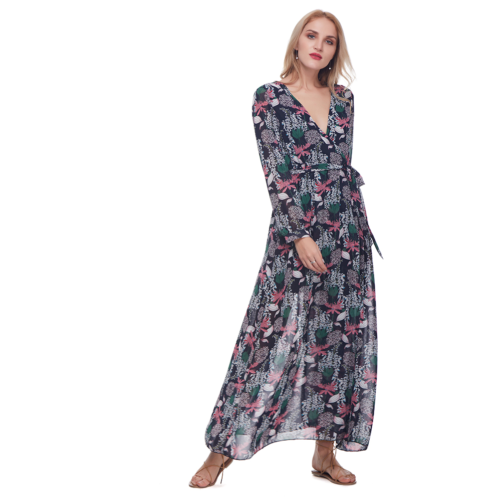 Retro Floral Print Wrap Split Women Dress Bohemian V Neck Chiffon Flowy Pleated Long Dresses Long Sleeve Beach Maxi Boho Dress floral chiffon dress long sleeve