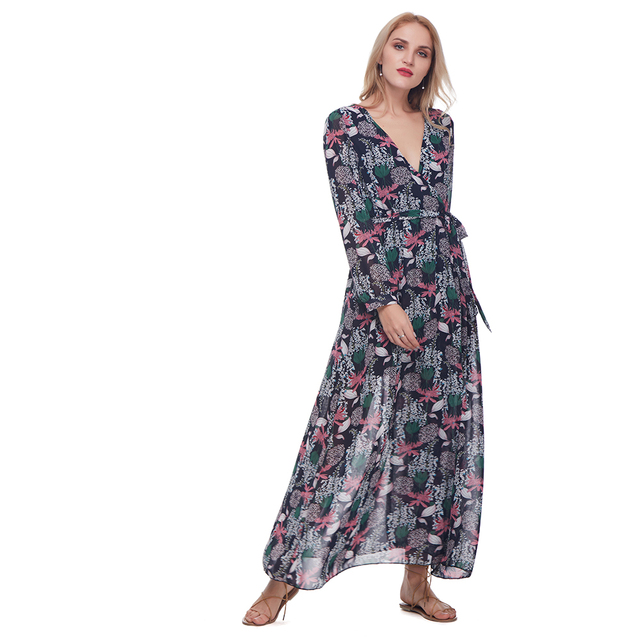Wipalo Floral Print Wrap Split Women Dress Bohemian V Neck Chiffon Flowy  Pleated Long Dresses Long Sleeve Beach Maxi Boho Dress ef3190784