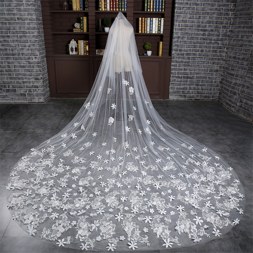 New Design Bridal Veils With Flower Charming White / Ivory Long Bridal Veil Cathedral Veil Real Picture Wedding Veil For Bride(China (Mainland))