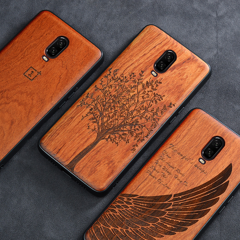 Oneplus 6t Case Boogic Original Real Wood funda Oneplus 6T Rosewood TPU Shockproof Back Cover Phone Shell One plus 6T case