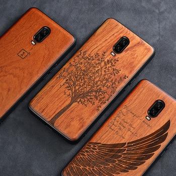 Oneplus 6 т случае Boogic оригинальный натурального дерева принципиально Oneplus 6 т палисандр ТПУ ударопрочный задняя крышка Телефон Shell One plus 6 т случ...