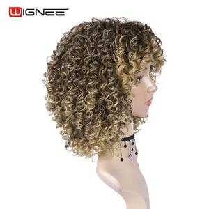 Image 4 - Wignee Blonde Wig With Bangs High Temperature Human Curly hair wig Synthetic Wigs For Black Women African American Natural Wigs