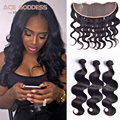 7A Brazilian Virgin Hair With Closure Body Wave Brazilian Lace Frontal Closure With Bundles Full Lace Frontal Closure 13x4