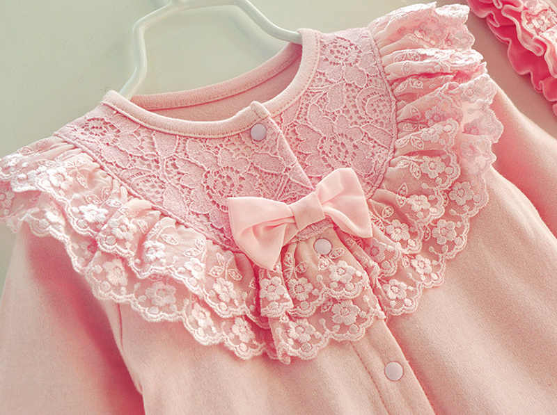 Хлопковый кружевной комбинезон для новорожденных девочек с бернатом, комбинезон для маленьких девочек, белый и розовый цвета, спальный мешок, Одежда для новорожденных, подарок на м Возраст 3, М 6, м 9, 1 т