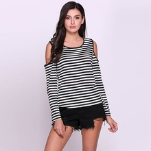 Casual Women Cold Shoulder Heart Patchwork Sleeve Stripe High Low Hem T-shirt