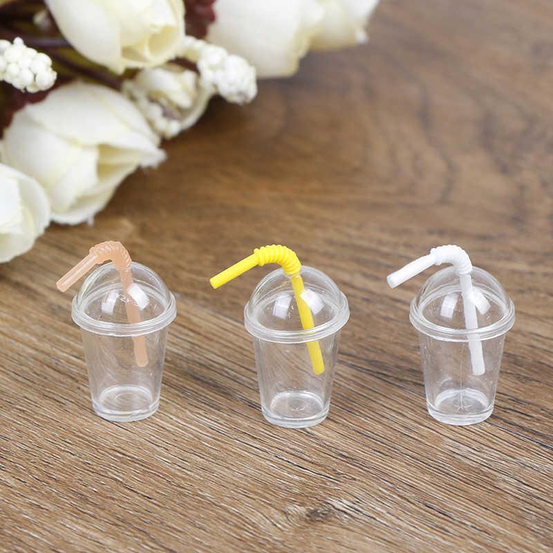 Оптовая продажа 2/4 шт./лот 1:12 кукольный домик мини чашка для молока и чая с соломой моделирование напитки еда напиток игрушки украшения модель игрушка