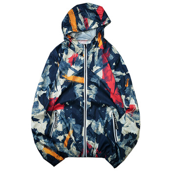 Camouflage Print Hooded Jacket Men Spring Summer Zipper Sports Thin Men's Sunscreen Coats Clothes