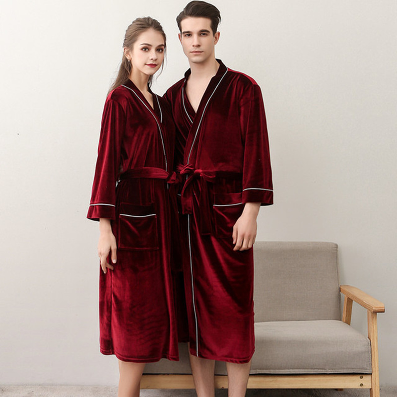 Women Men Bathrobe Sashes Nightgowns Lace Up Spring Couple Robes Pajamas Bath Coral Velvet Warm Robe Sleepwear Home Clothes