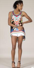 Estilo de Las Mujeres del verano Bajo-Alto Sin Mangas Boho Bohemia de la Impresión camisa Debardeur Sleevelesss